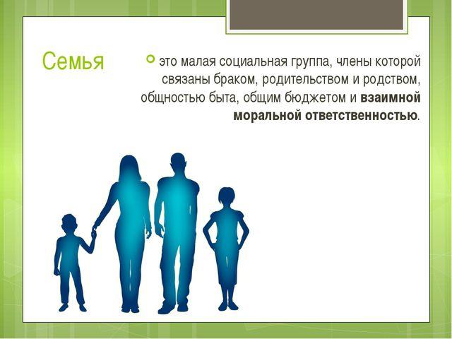 Семья это малая социальная группа, члены которой связаны браком, родительство...