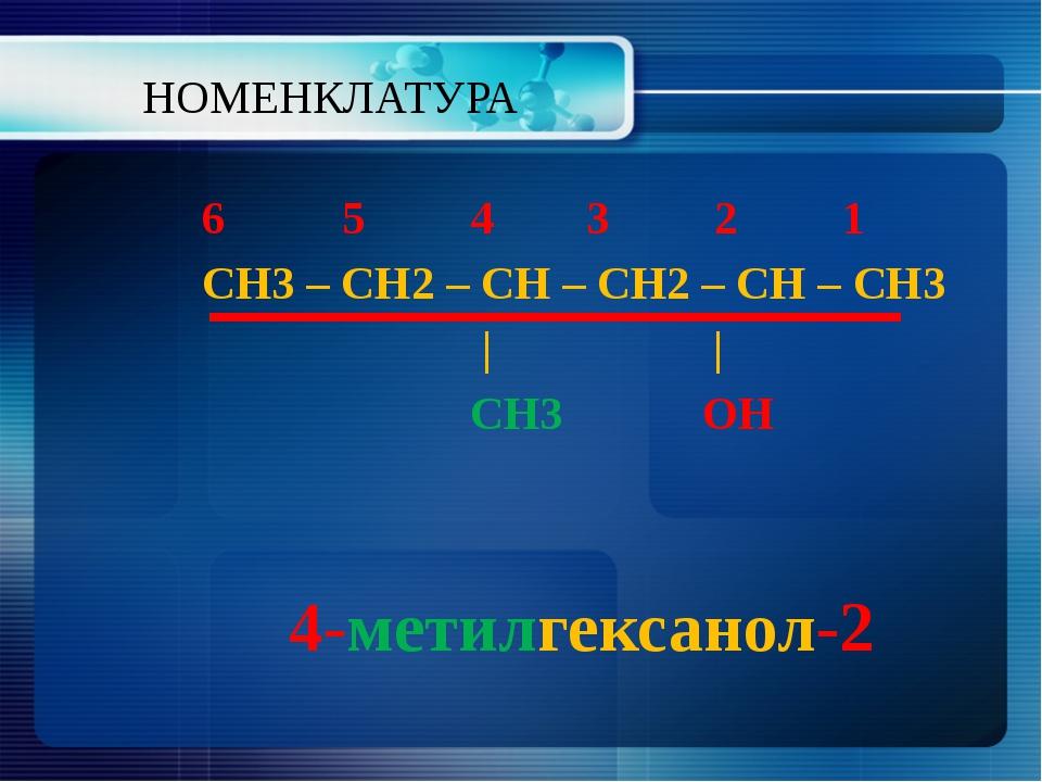 НОМЕНКЛАТУРА 6 5 4 3 2 1 СН3 – СН2 – СН – СН2 – СН – СН3     СН3 ОН 4-метилге...