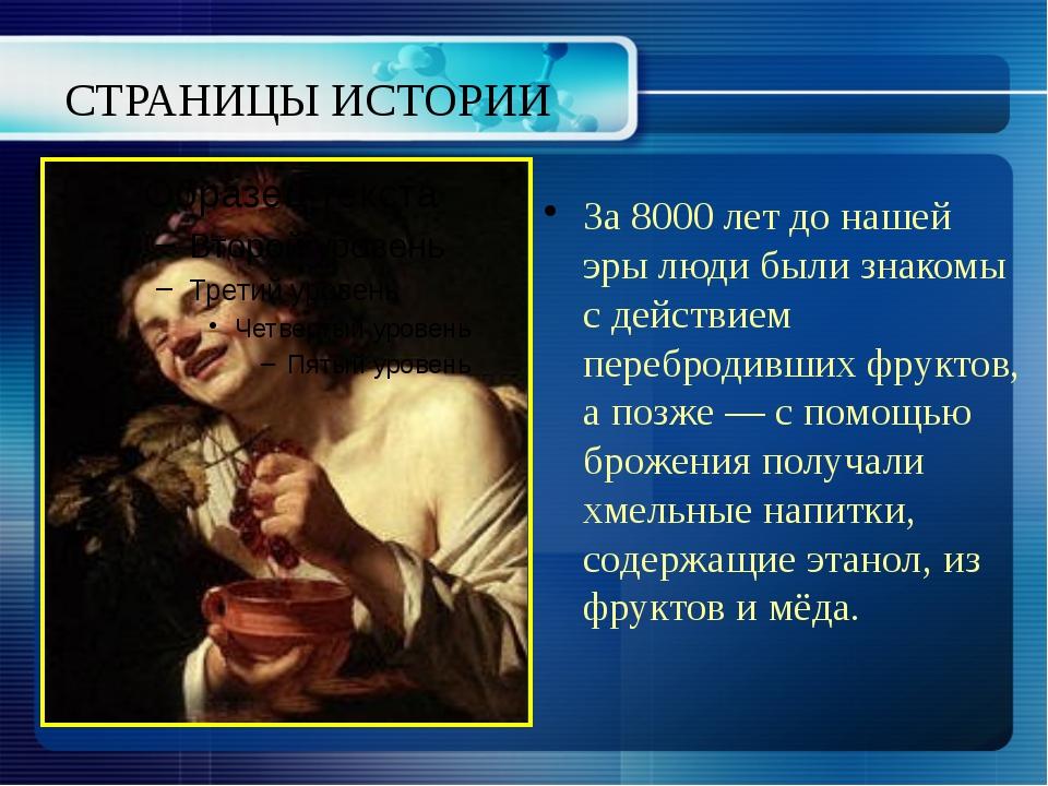 СТРАНИЦЫ ИСТОРИИ За 8000 лет до нашей эры люди были знакомы с действием переб...