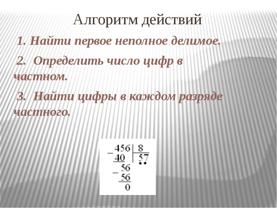 Алгоритм действий 1. Найти первое неполное делимое. 2. Определить число цифр...