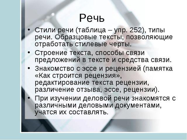 Речь Стили речи (таблица – упр. 252), типы речи. Образцовые тексты, позволяющ...