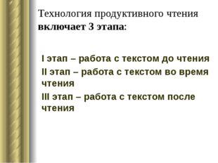 Технология продуктивного чтения включает 3 этапа: I этап – работа с текстом д