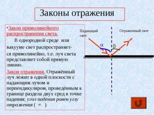 Законы отражения Закон прямолинейного распространения света. В однородной сре