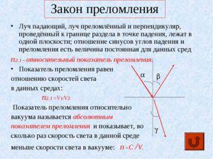 Закон преломления Луч падающий, луч преломлённый и перпендикуляр, проведённый