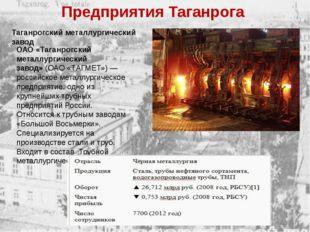 Таганрогский металлургический завод ОАО «Таганрогский металлургический завод»