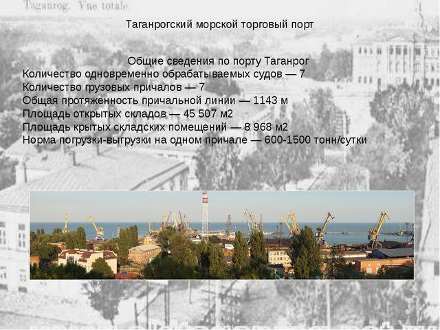 Таганрогский морской торговый порт Общие сведения по порту Таганрог Количеств...