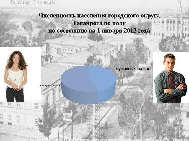 Численность населения городского округа Таганрога по полу по состоянию на 1...