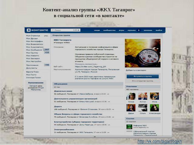 Контент-анализ группы «ЖКХ Таганрог» в социальной сети «в контакте» http://vk...