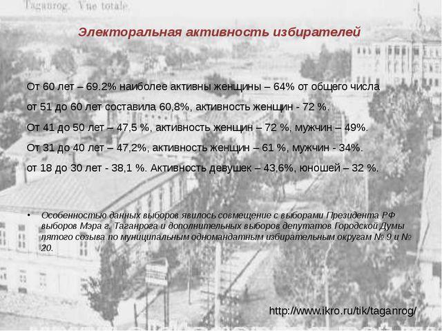 Электоральная активность избирателей От 60 лет – 69.2% наиболее активны женщи...