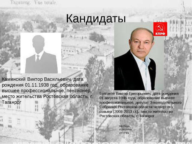 Кандидаты Каминский Виктор Васильевич, дата рождения 01.11.1938 год, образова...