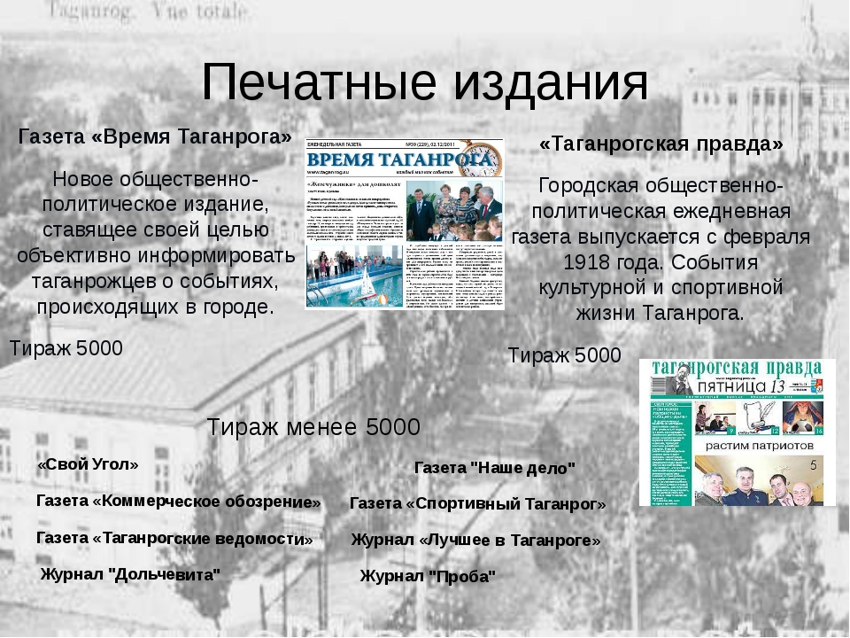 Печатные издания Газета «Время Таганрога» Новое общественно-политическое изда...