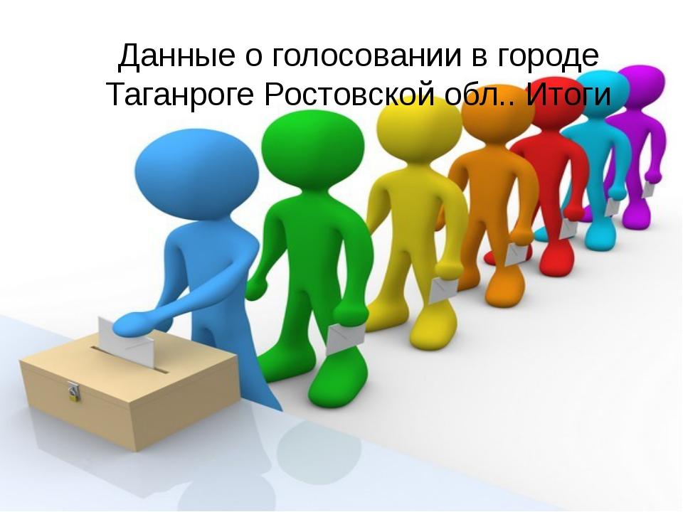 Данные о голосовании в городе Таганроге Ростовской обл.. Итоги