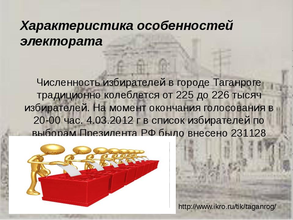 Характеристика особенностей электората  Численность избирателей в городе Таг...