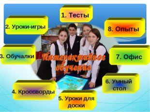 1. Тесты 2. Уроки-игры 3. Обучалки 4. Кроссворды 8. Опыты 7. Офис 6. Умный ст