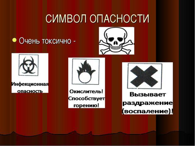 СИМВОЛ ОПАСНОСТИ Очень токсично -