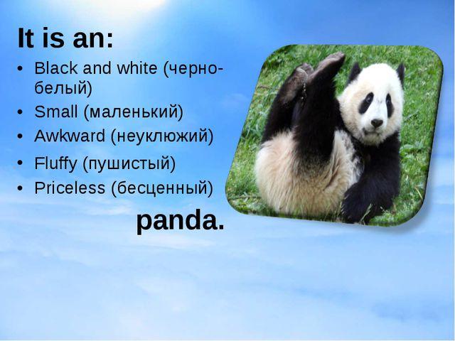It is an: Black and white (черно-белый) Small (маленький) Awkward (неуклюжий)...