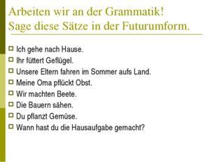 Arbeiten wir an der Grammatik! Sage diese Sätze in der Futurumform. Ich gehe