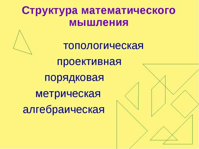 Структура математического мышления топологическая проективная порядковая метр...