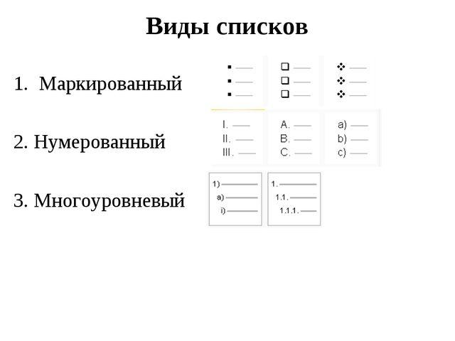 Виды списков Маркированный 2. Нумерованный 3. Многоуровневый
