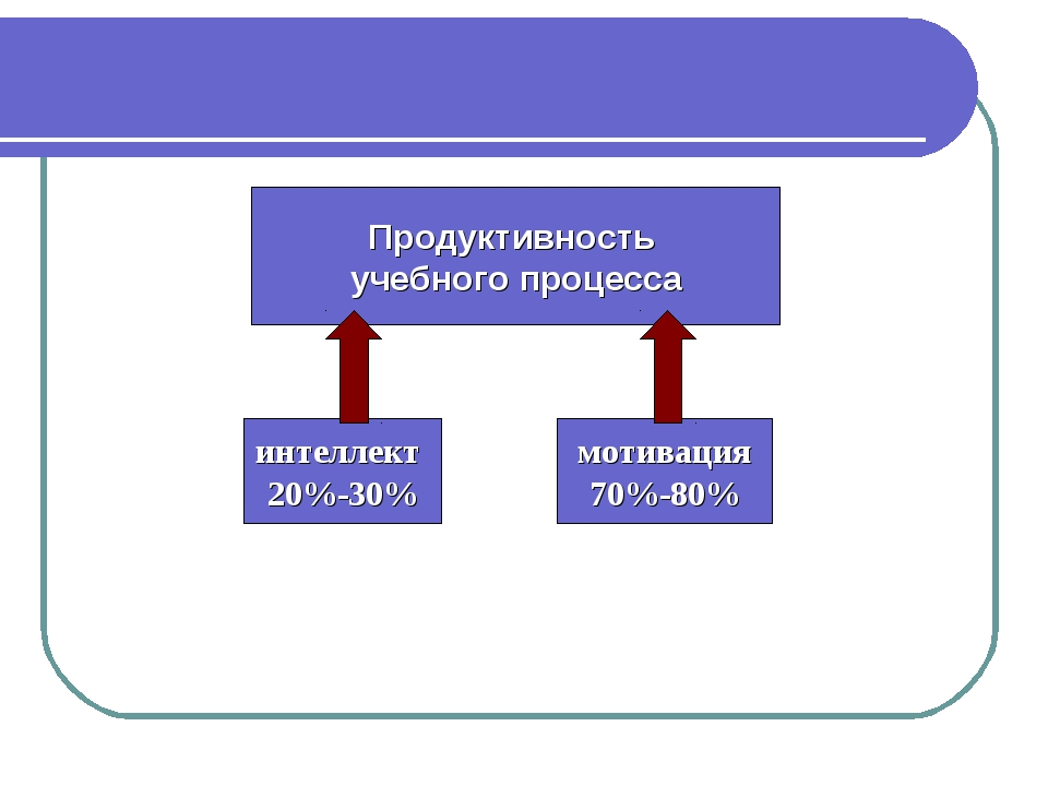 Продуктивность учебного процесса интеллект 20%-30% мотивация 70%-80%