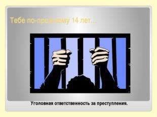 Тебе по-прежнему 14 лет… Уголовная ответственность за преступления.