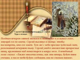 Сергей Ефошкин.Преподобный Сергий. Чудо о птицах Поздним вечером святой моли