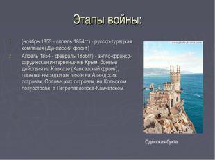 Этапы войны: (ноябрь 1853 - апрель 1854гг) - русско-турецкая компания (Дунайс