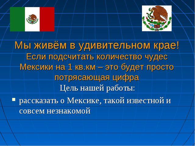 Мы живём в удивительном крае! Если подсчитать количество чудес Мексики на 1 к...