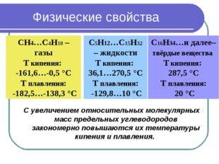 Физические свойства С увеличением относительных молекулярных масс предельных