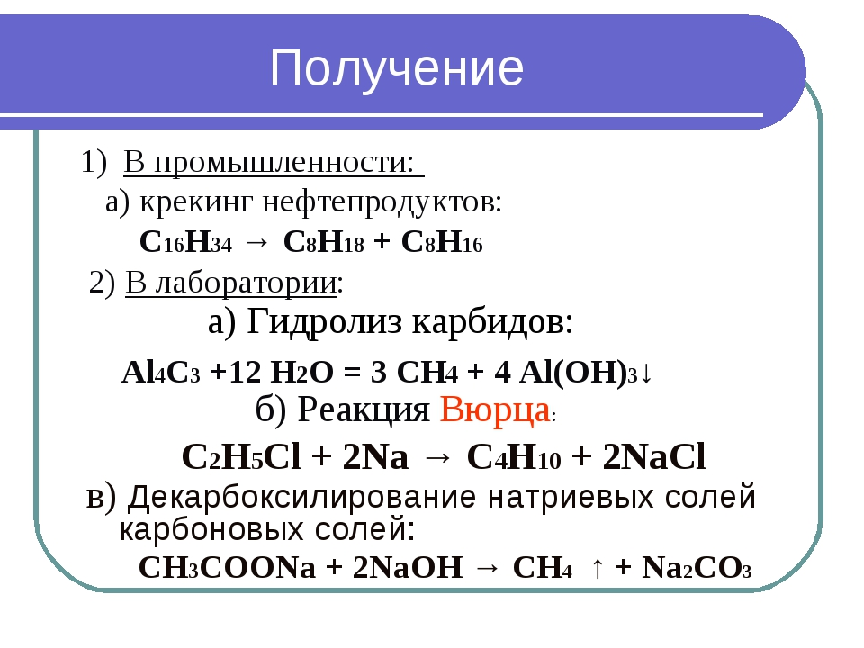В промышленности: а) крекинг нефтепродуктов: C16H34 → C8H18 + C8H16 2) В лабо...