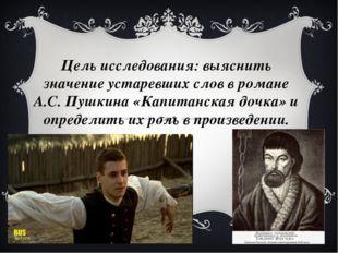 Цель исследования: выяснить значение устаревших слов в романе А.С. Пушкина «К