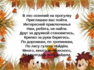 В лес осенний на прогулку Приглашаю вас пойти. Интересней приключенья Нам, ре