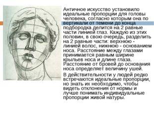 Античное искусство установило идеальные пропорции для головы человека, соглас