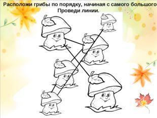 Расположи грибы по порядку, начиная с самого большого. Проведи линии.