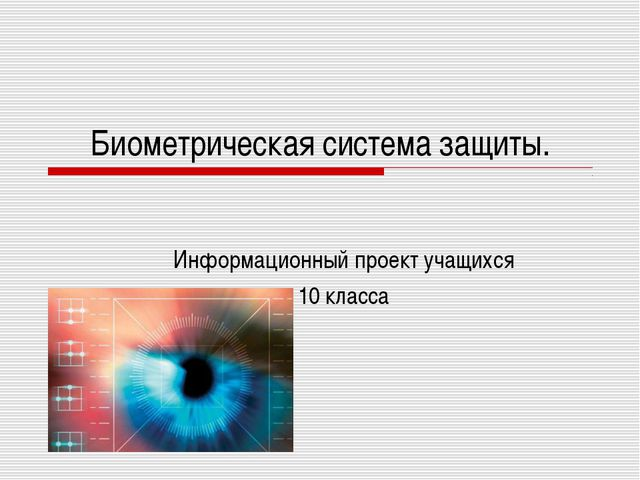 Биометрическая система защиты. Информационный проект учащихся 10 класса