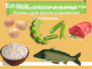 Питательные вещества Белки – питательные вещества. Нужны для роста и развития