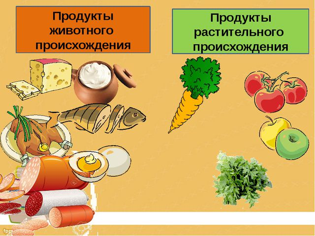 Продукты животного происхождения Продукты растительного происхождения