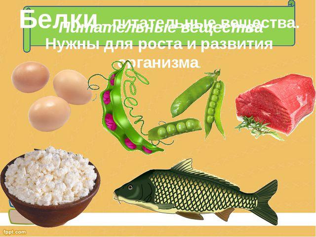 Питательные вещества Белки – питательные вещества. Нужны для роста и развития...
