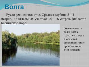 Волга  Русло реки извилистое. Средняя глубина 8 – 11 метров, на отдельных у