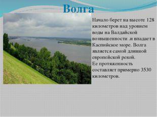 Начало берет на высоте 128 километров над уровнем воды на Валдайской возвышен