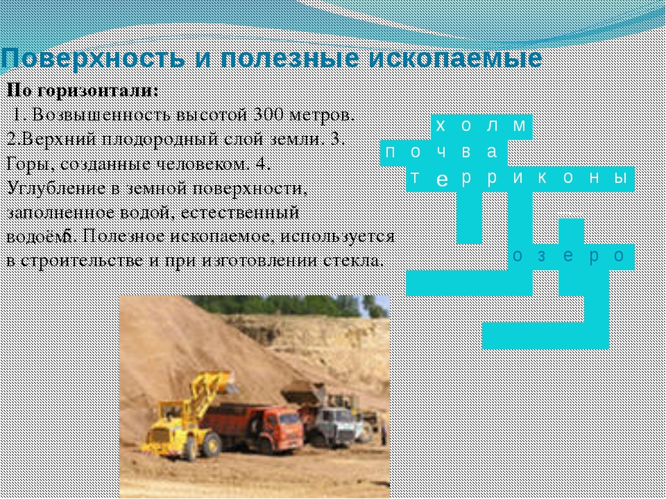 Поверхность и полезные ископаемые По горизонтали: 1. Возвышенность высотой 30...