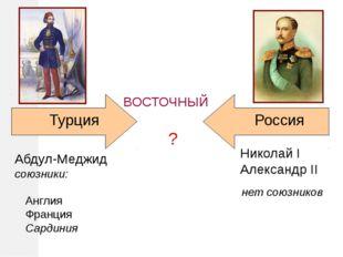 ? Турция Николай I Александр II Россия ВОСТОЧНЫЙ нет союзников Абдул-Меджид с