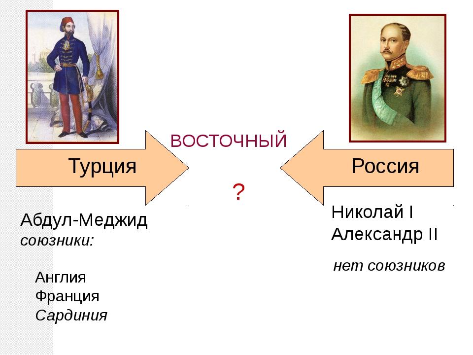 ? Турция Николай I Александр II Россия ВОСТОЧНЫЙ нет союзников Абдул-Меджид с...