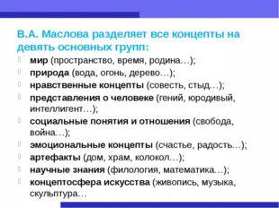 В.А. Маслова разделяет все концепты на девять основных групп: мир (пространст