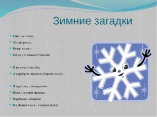 Зимние загадки Снег на полях, Лёд на реках, Ветер гуляет. Когда это бывает?(