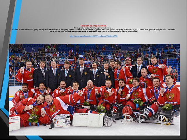 Сборная по следж-хоккею Награда в Сочи: серебро в турнире по следж-хоккею. В...