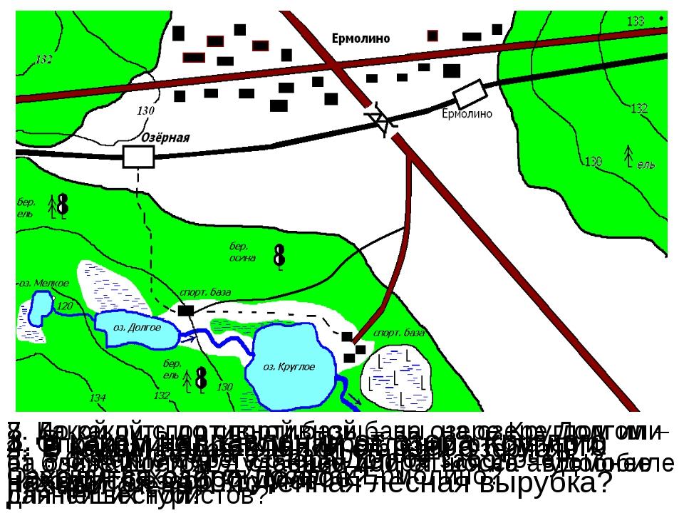 1. Определите в каком направлении от станции Озёрная находится посёлок Ермоли...