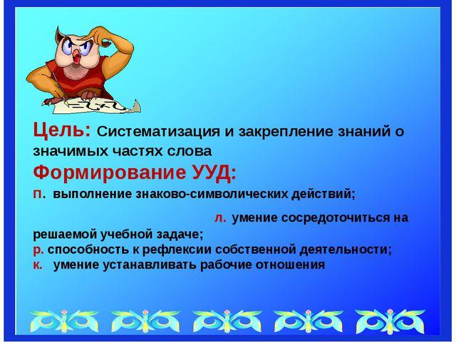 Цель: Систематизация и закрепление знаний о значимых частях слова Формирован...