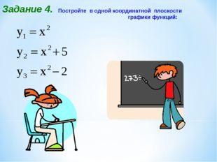 Постройте в одной координатной плоскости графики функций: Задание 4.