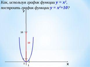 Как, используя график функции у = х2, построить график функции у = х2+10? 0 1